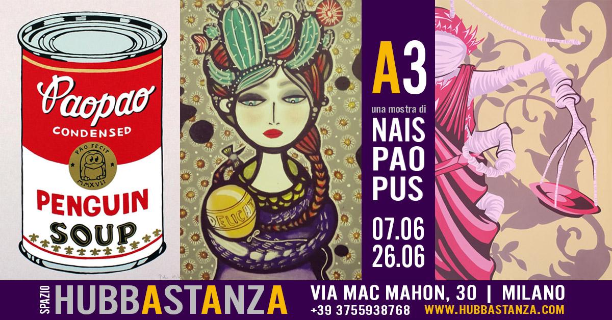Locandina mostra A3 all'Hubbastanza di via Mac Mahon