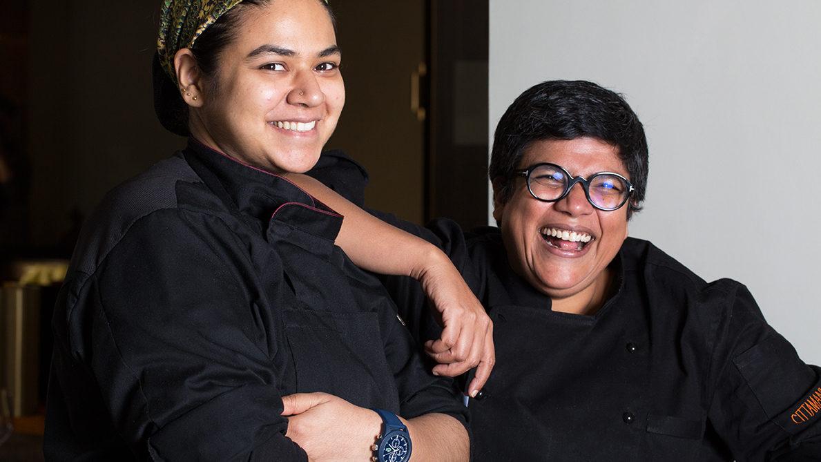 Ritu Dalmia e la resident chef e Shivanjali Shankar